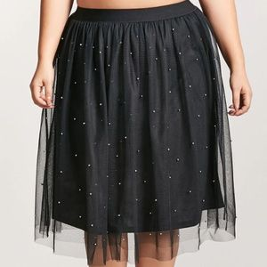 Forever 21+ - Black Sheer Mesh Stud Tulle Skirt